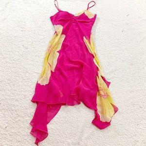 Sue Wong pink yellow flower silk dress